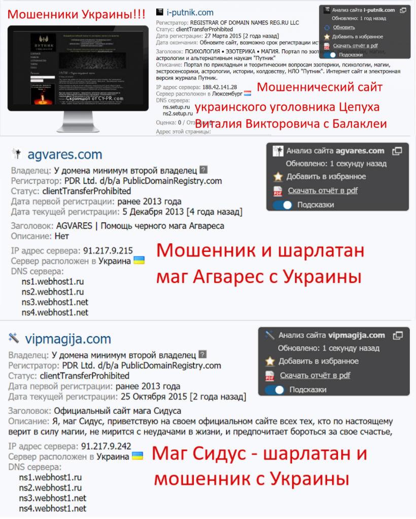 Сайты и маги Цепуха В.В.